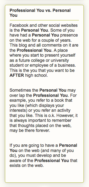 Professional You vs. Personal You   http://room2001.blogspot.com/