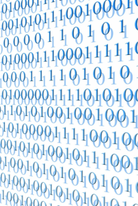 Ones and zeroes of binary code in blue, filling the screen