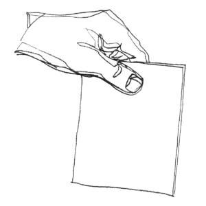 line drawing of hand holding ballot