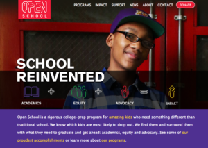 Screen shot of Open School webpage