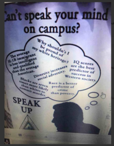 Poster of racist misinformation encouraging white nationalism
