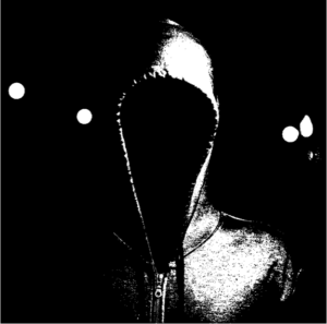 B&W sketch of hoody with no face