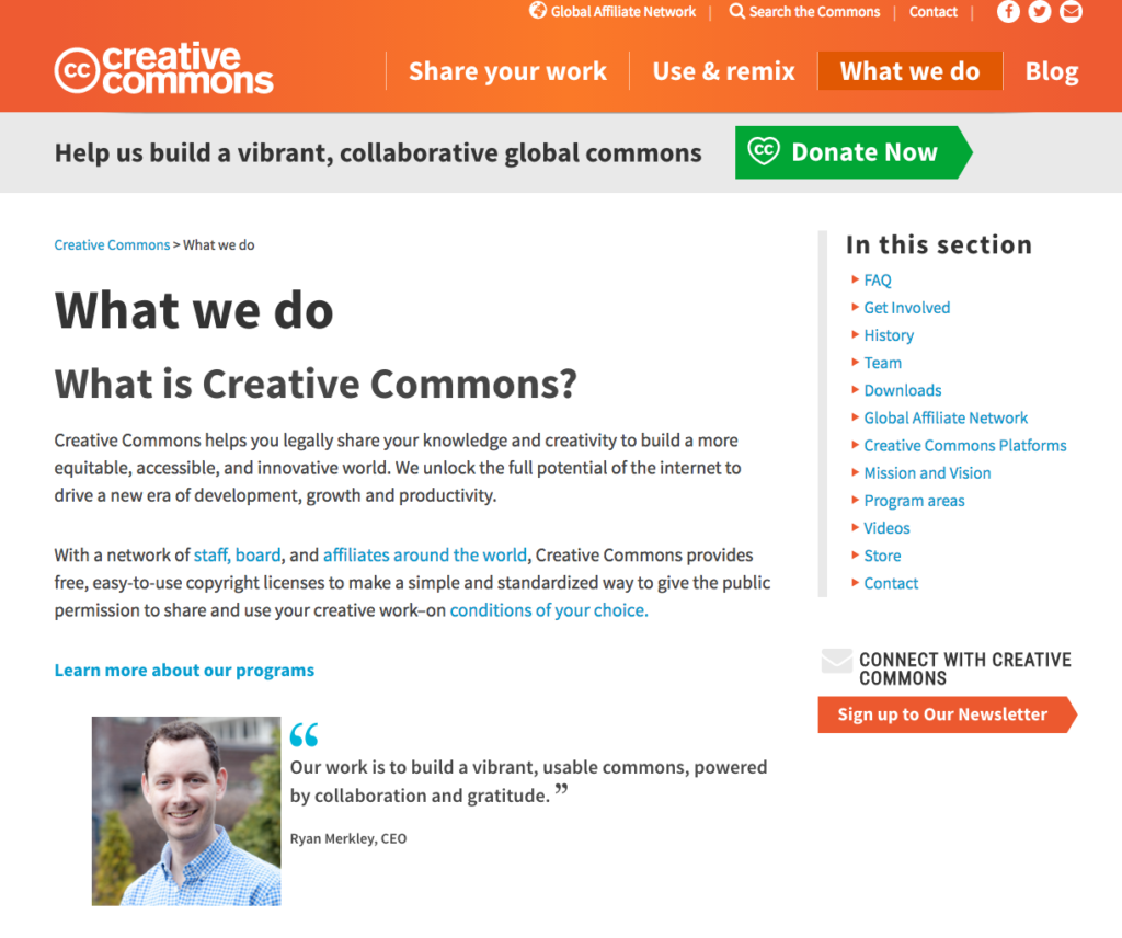 Screenshot- Creative Commons About Page