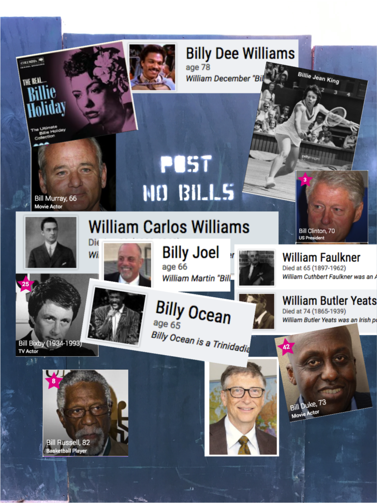 "Mashup-""Post no bills"" sign overlaid with photos-celebrities named Bill"