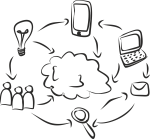 line drawing of tech tools circling around a cloud, with arrows connecting each element to the other.