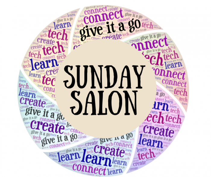Sunday Salon logo: circle populated with key terms: give it a go, connect, learn, create, tech